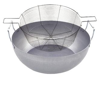 Sheet metal fry pan 50 cm with tin-plated wire basket