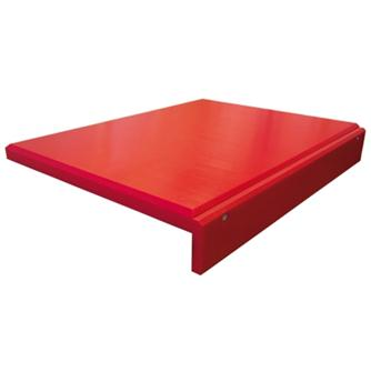 Polyethylene chopping board with ridge - red