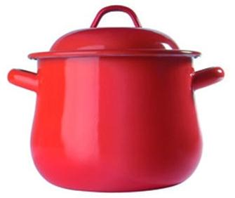 Enamelled cooking pot with lid 16 cm