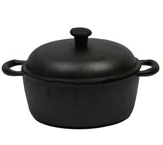 Round cast iron casserole dish measuring 25 cm, 4 litres