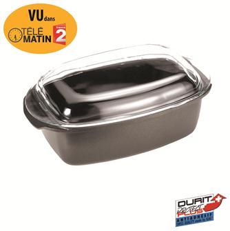 Rectangular casserole dish in non-stick cast aluminium. 40 cm, 6 litre capacity. Pyrex lid.