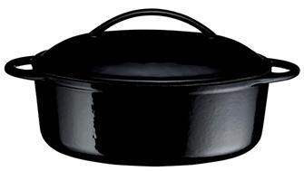 Cast iron oval casserole dish - black - 28 cm - 2 litres