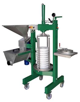 Olive oil extraction press with grinder