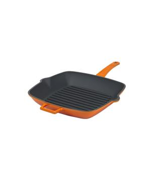 Orange cast iron grill pan 26 x 26 cm