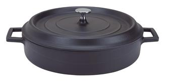 Round low 28 cm matt black casserole dish