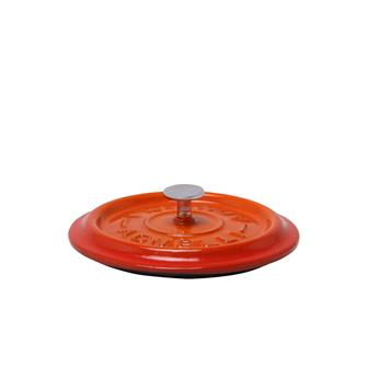 Round orange cast iron lid