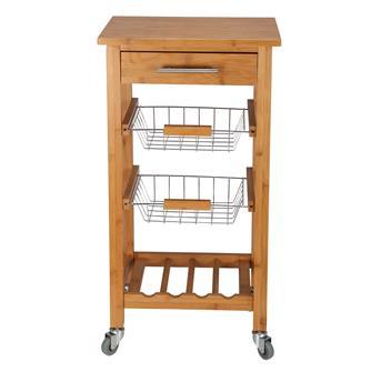 Bamboo kitchen trolley 45x35 cm