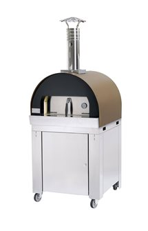 Pizza oven and bread on trolley while refractory for slow cooking