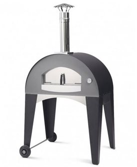 Outdoor pizza oven 80x50 cm with trolley