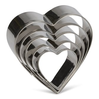 Set of 5 heart stainless steel cookie cutters