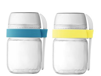 2 compartmentalized take-away pots for yogurt maker yellow and blue