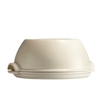 Emile Henry round white ceramic round housebread set