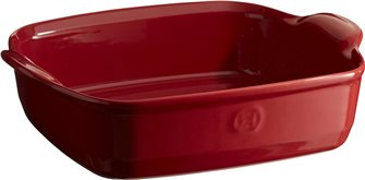 Square ceramic dish - 23.5 cm - Red coloured