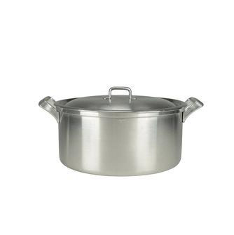 Aluminum casserole with square edge and aluminum handles diameter 40 cm