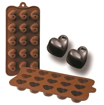 Silicone mold for 15 chocolate hearts