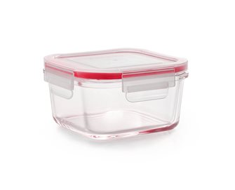 Hermetic and stackable glass storage box 11.5x11.5 cm