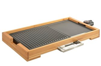 Plancha grill table 51x26 cm of 2000 W in non-stick aluminum and bamboo cast iron