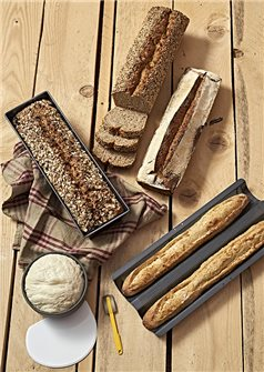 HomeMade Bread Box: plate 2 baguettes bread pan 35 cm snack and soft horn