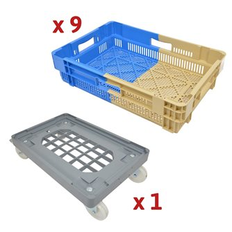 Kit of 25 L stackable and nestable perforated trays with multi-tray trolley