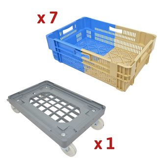 34 L Stackable and Nestable Openwork Bins Kit with Multitray Trolley