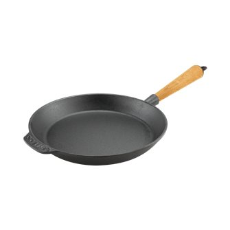 Cast iron frying pan 24 cm for induction hobs, wooden handle