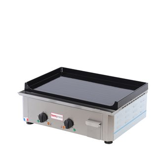 Electric plancha enameled cast iron 20 mm 60x40 cm professional 3500 W stainless steel frame made in France