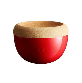 Fruit bowl high 4.7 l. Emile Henry Grand Cru red ceramic storage bowl with cork tray