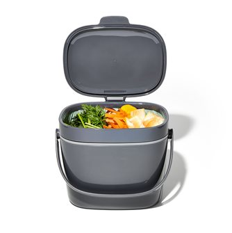 Bac à compost de cuisine gris 6,6 L